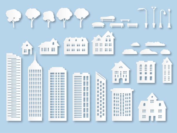 stockillustraties, clipart, cartoons en iconen met papier gebouwen. origami stad huizen met ramen. kartonnen wolkenkrabbers met lantaarns, bomen en banken. wit papier knippen vector set - wolkenkrabber