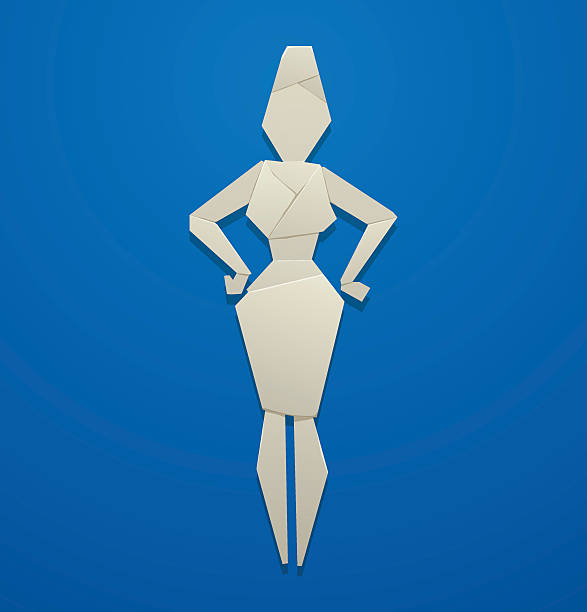 Paper Business Woman Standing Origami Style Vector Art Illustration