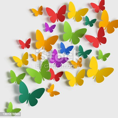 istock Paper butterfly multi-colored on white background. 1301828665