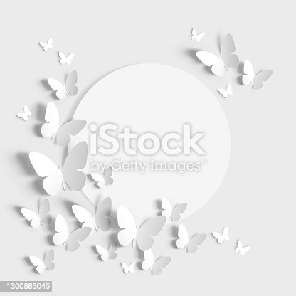 istock Paper Butterfly with blank white note 1300863045