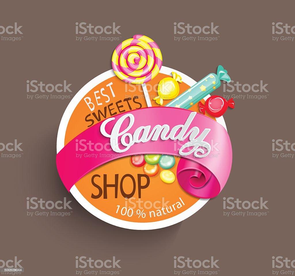 Étiquette papier magasin de bonbons avec ruban, illustration vectorielle. - Illustration vectorielle