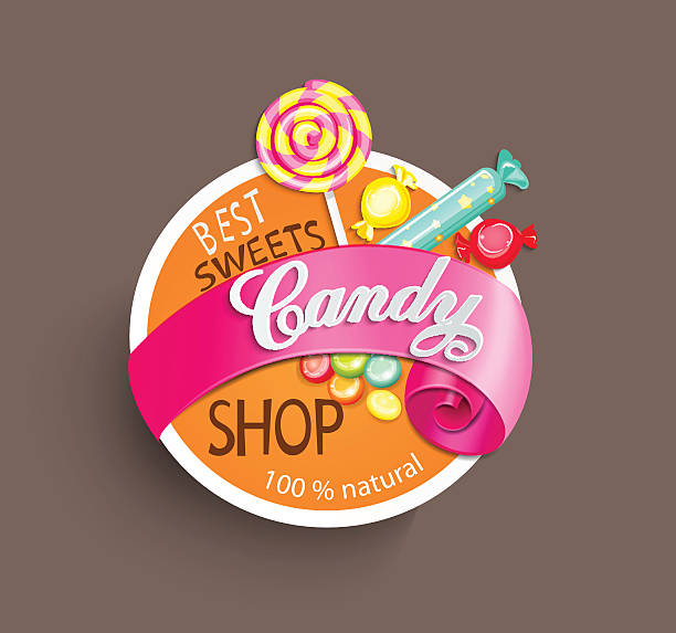 papier candy shop label mit band, vektor-illustration. - lutscher stock-grafiken, -clipart, -cartoons und -symbole