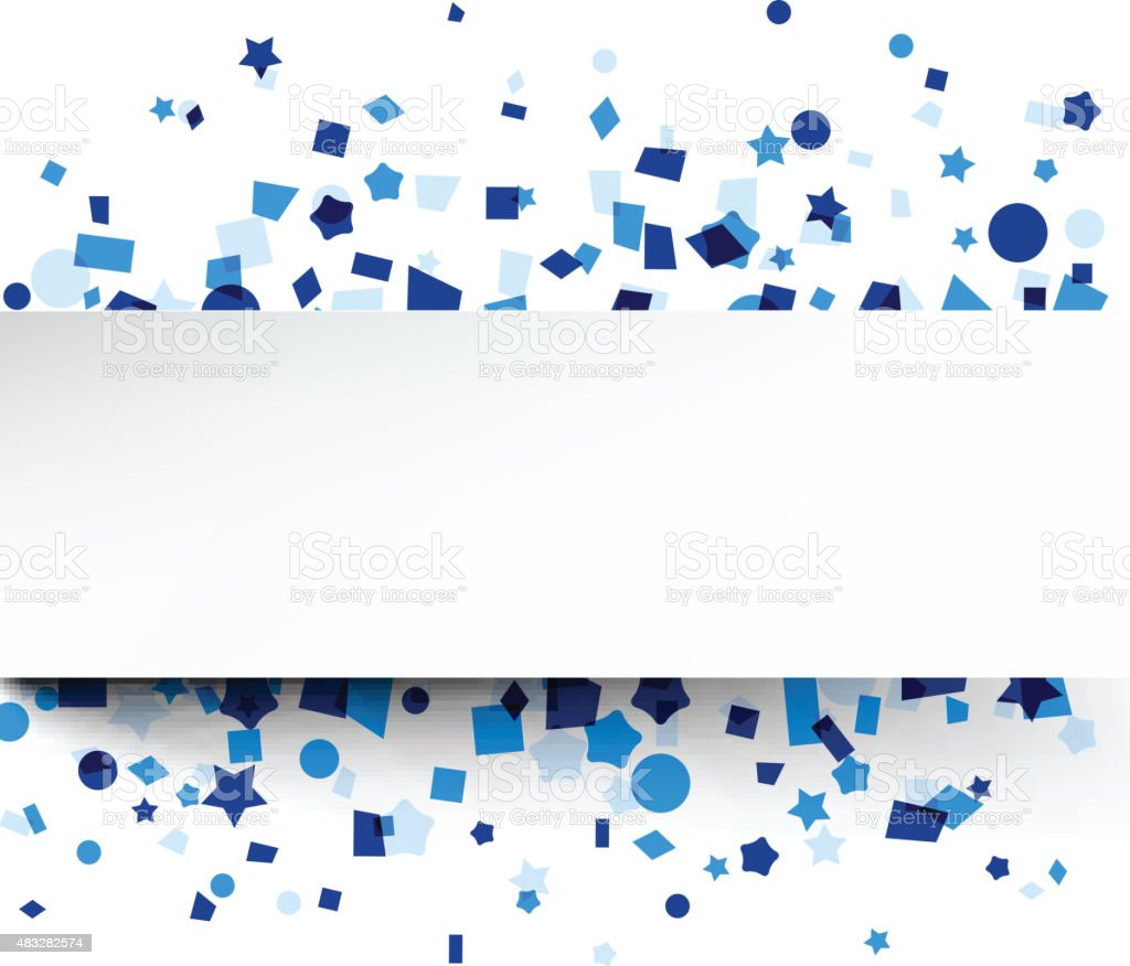 Paper card over blue confetti vector art illustration