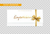 Paper card with the word congratulations, Merry Christmas and Happy New Year