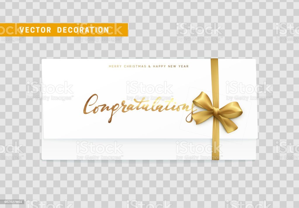 Paper card with the word congratulations, Merry Christmas and Happy New Year vector art illustration