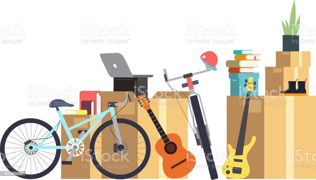 Paper cardboard boxes with various household thing. Family moving into new house. Cartoon vector concept vector art illustration