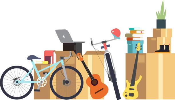 ilustrações, clipart, desenhos animados e ícones de caixas de papelão de papel com várias coisa do agregado familiar. família se mudar para casa nova. conceito de vetor de desenhos animados - casa nova