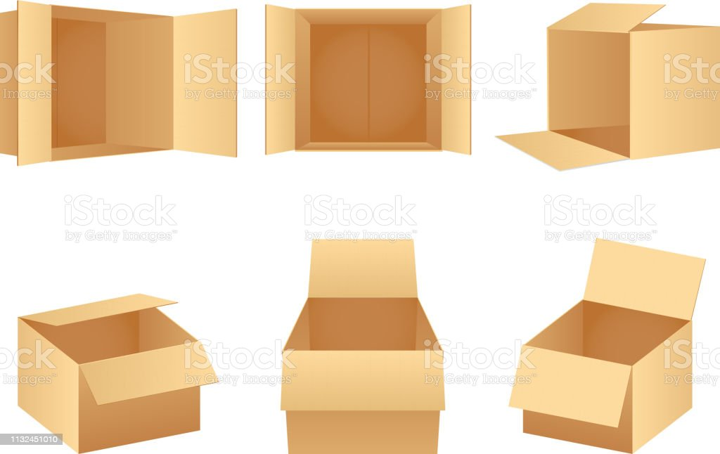 Paper cardboard package boxes isometric empty open pack box isolated...