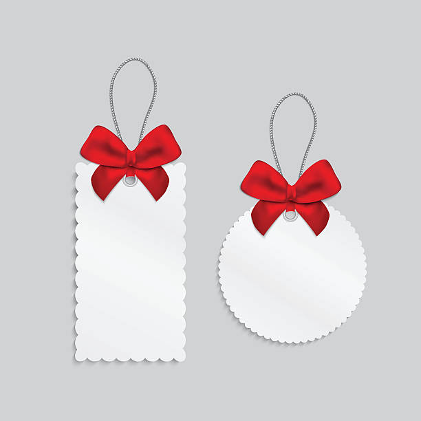 Paper cards with tied bow on the top. vector art illustration