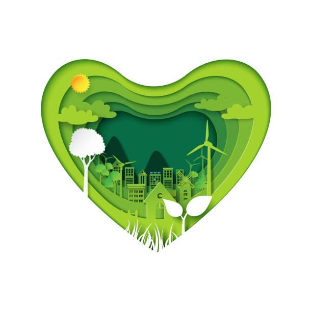 bildbanksillustrationer, clip art samt tecknat material och ikoner med papper skära av hjärta med gröna eco - recycling heart