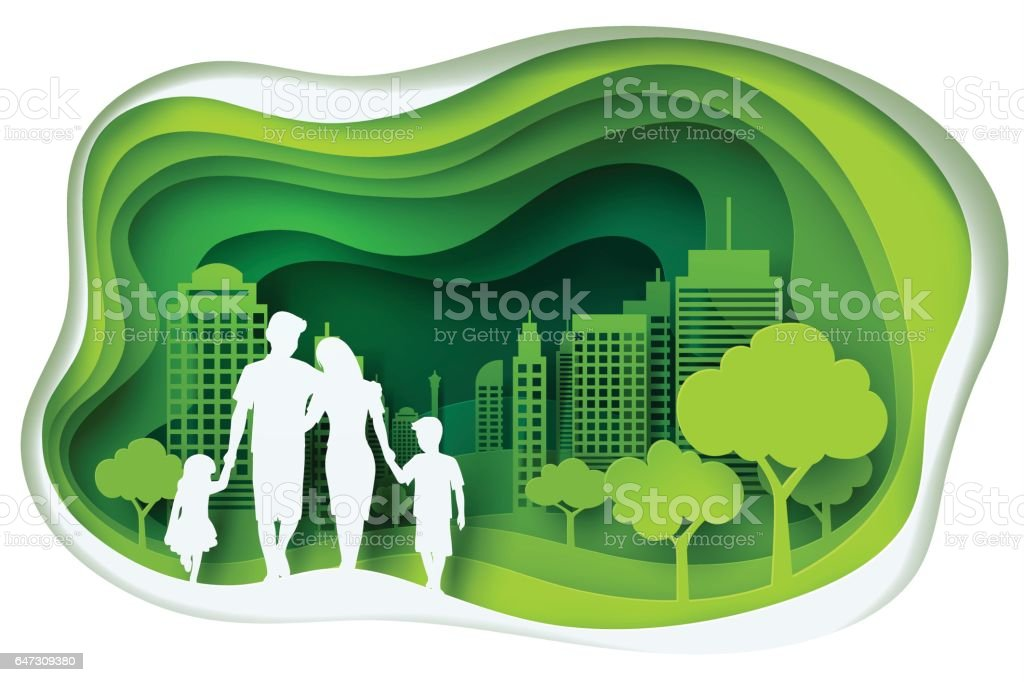 Paper carve to family and park on green town shape, paper art concept and ecology idea vector art illustration