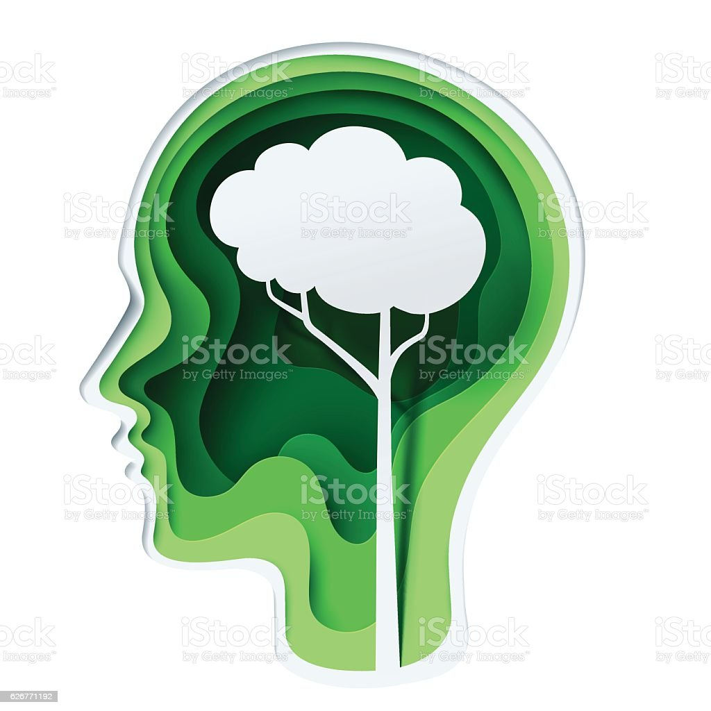 Paper carve to human head and tree brain royalty-free paper carve to human head and tree brain stock illustration - download image now