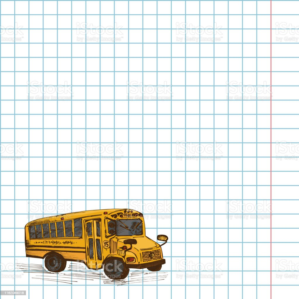 Paper cell notebook with hand drawn sketch yellow school bus symbol...