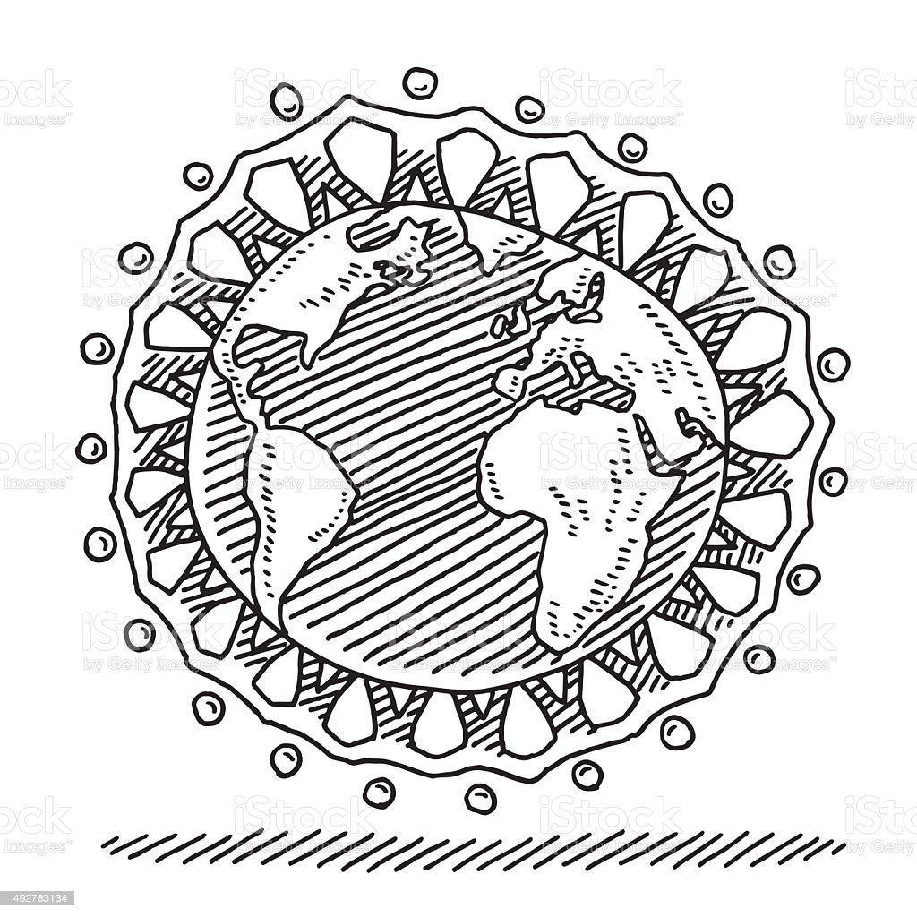 Chaîne en papier de personnes à travers le monde, de tirage - Illustration vectorielle