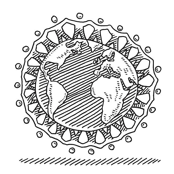 Paper Chain People Around The Globe Drawing Hand-drawn vector drawing of a group of Paper Chain People Around The Globe. Black-and-White sketch on a transparent background (.eps-file). Included files are EPS (v10) and Hi-Res JPG. community clipart stock illustrations