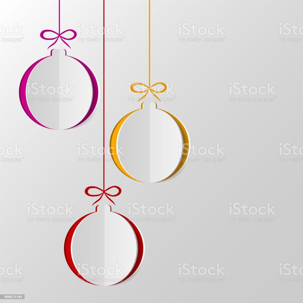 Bolas de navidad de papel - ilustración de arte vectorial