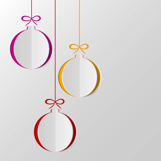 papier weihnachten bälle - papierdekoration stock-grafiken, -clipart, -cartoons und -symbole