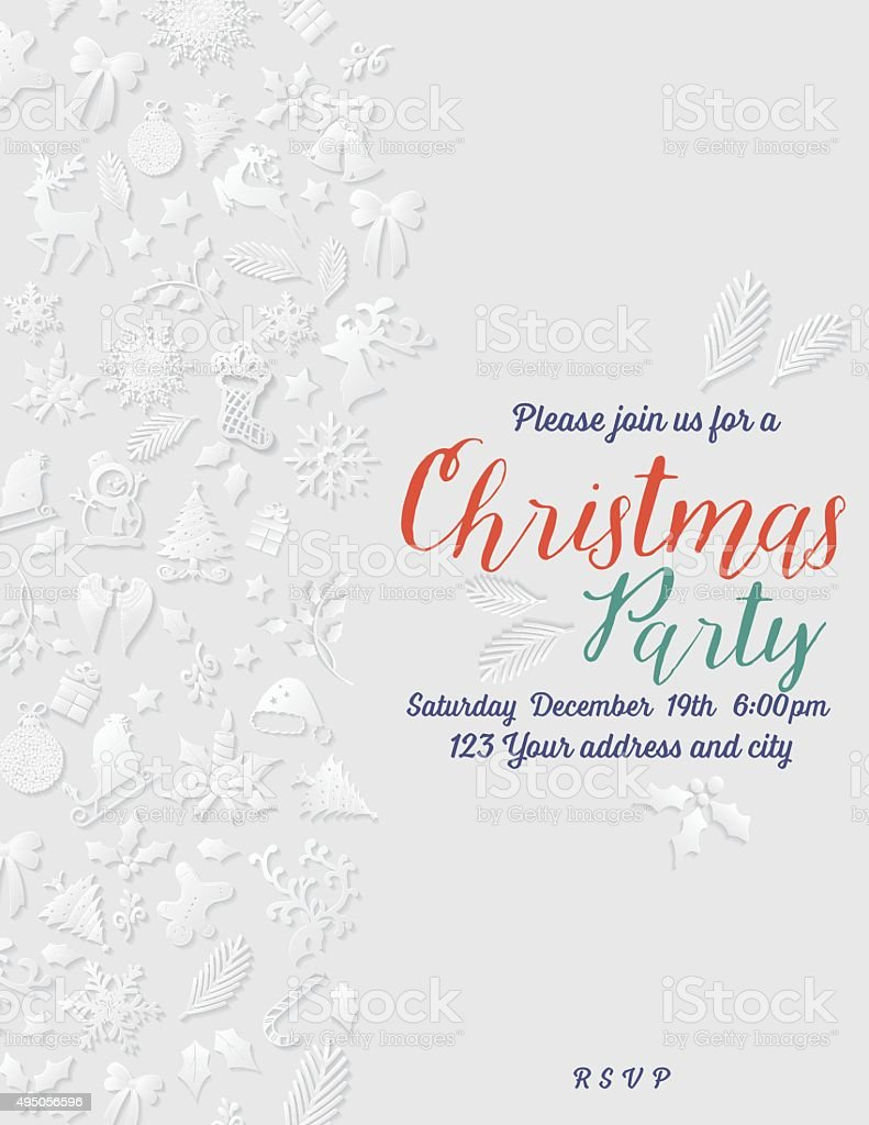 3D Paper Christmas Party Invitation Template vector art illustration