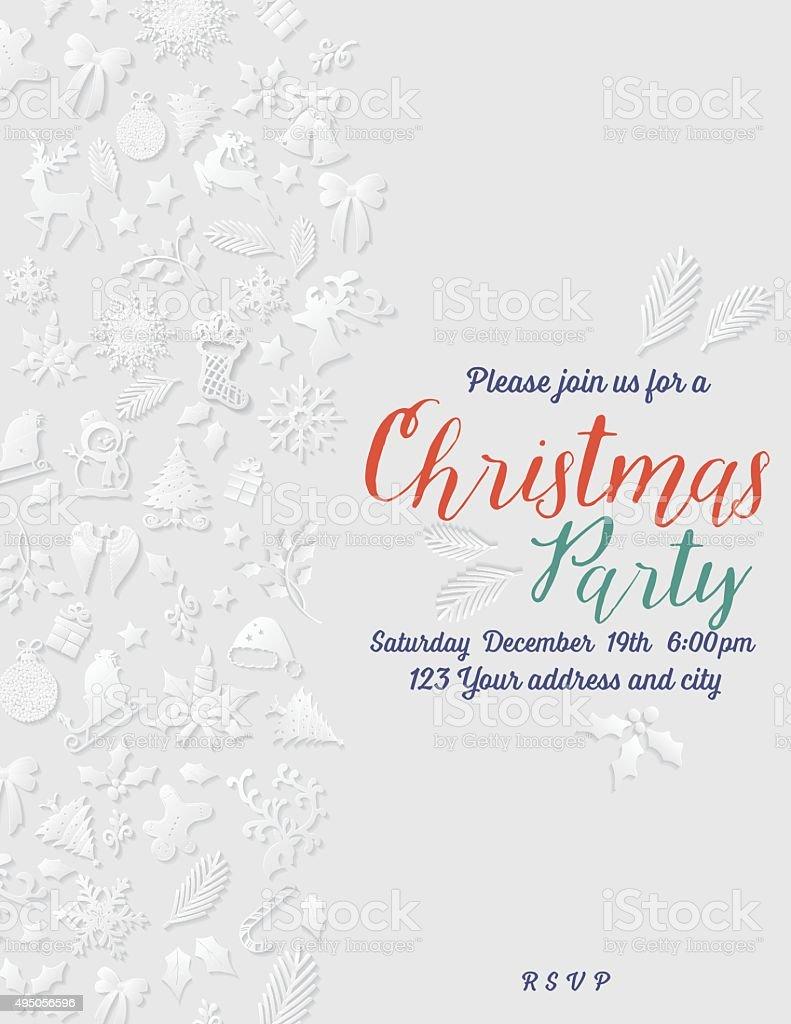 3 D de navidad de papel de la plantilla de la invitación - ilustración de arte vectorial