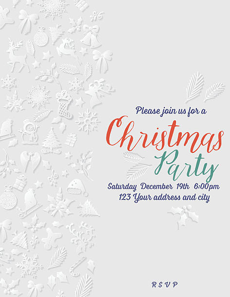 3d paper christmas party invitation template - office party stock illustrations, clip art, cartoons, & icons