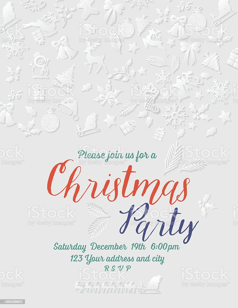 3d Paper Christmas Party Invitation Template Stock Vector Art More