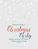 3D Paper Christmas Party Invitation Template. The text is surrounded by retro holiday icons in cut paper style. Text is on its own layer. Great for holiday parties, christmas dinner invitations or staff office party invites.