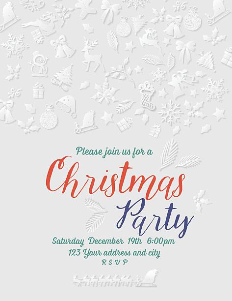 ilustraciones, imágenes clip art, dibujos animados e iconos de stock de 3 d de navidad de papel de la plantilla de la invitación - fiesta en la oficina