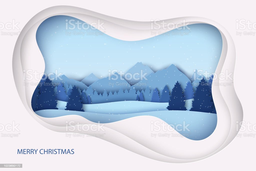 c5b2a89d5542af Paper Christmas Postcard With Winter Landscape Pine Trees Mountains ...