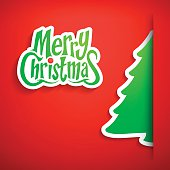 Design greeting card with paper christmas tree.