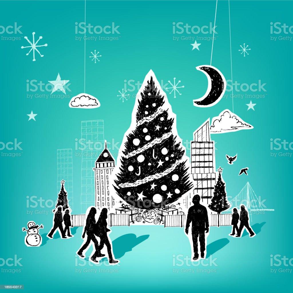 Paper City Christmas royalty-free stock vector art