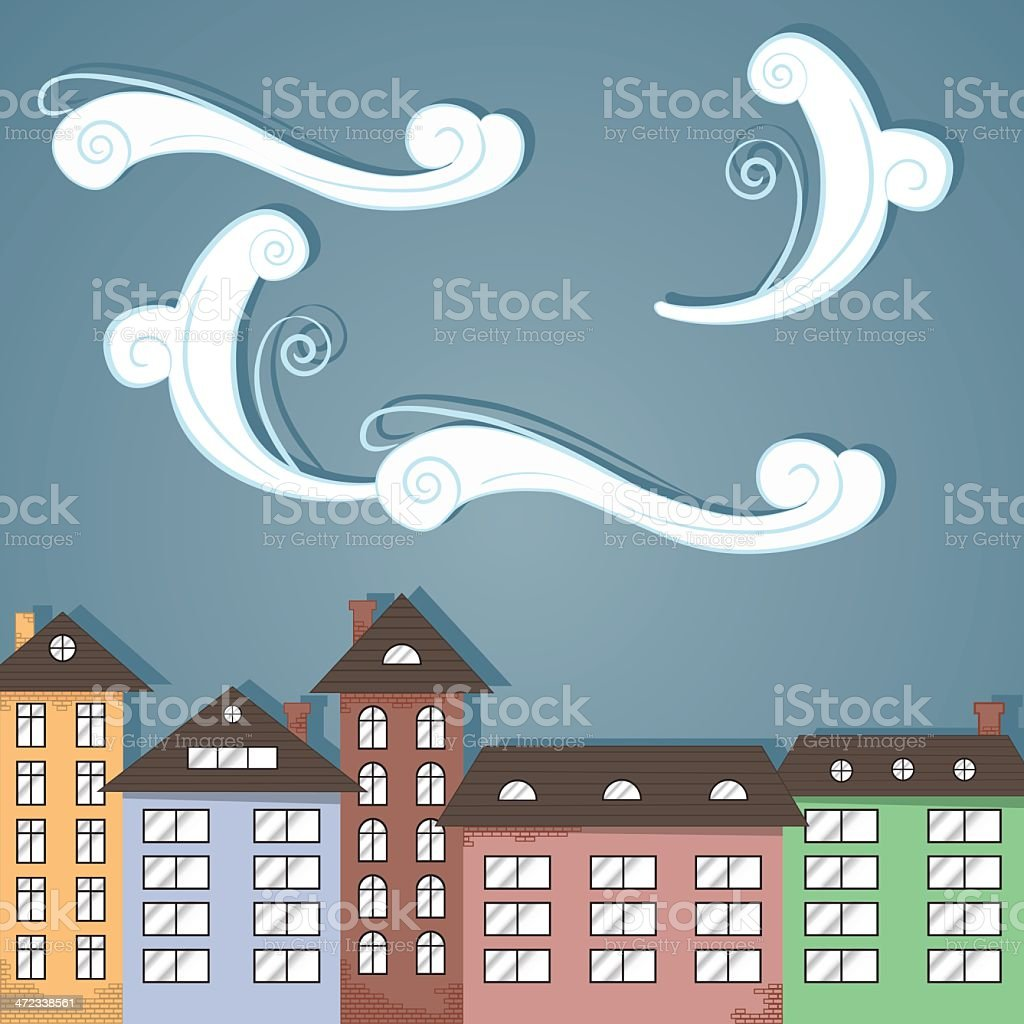 Paper city under clouds. royalty-free paper city under clouds stock vector art & more images of abstract
