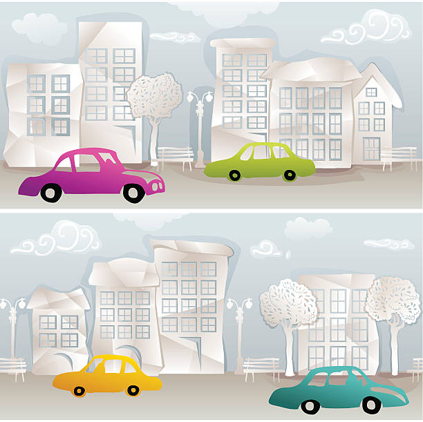 paper city vector art illustration