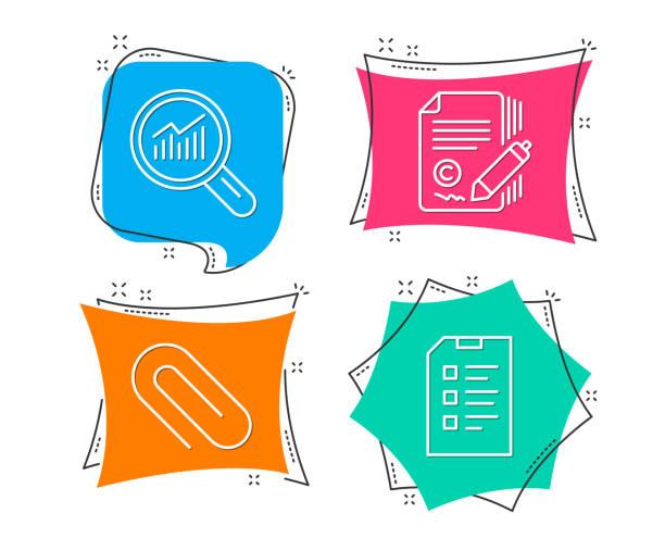 büroklammer, texten und daten-analyse-symbole. checkliste-zeichen. - storytelling grafiken stock-grafiken, -clipart, -cartoons und -symbole