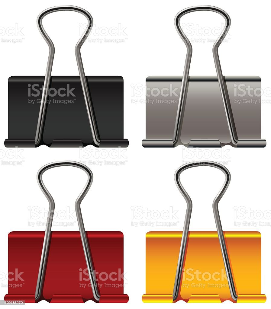Paper clip four colors vector art illustration