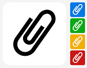 Paper Clip Icon. This 100% royalty free vector illustration features the main icon pictured in black inside a white square. The alternative color options in blue, green, yellow and red are on the right of the icon and are arranged in a vertical column.