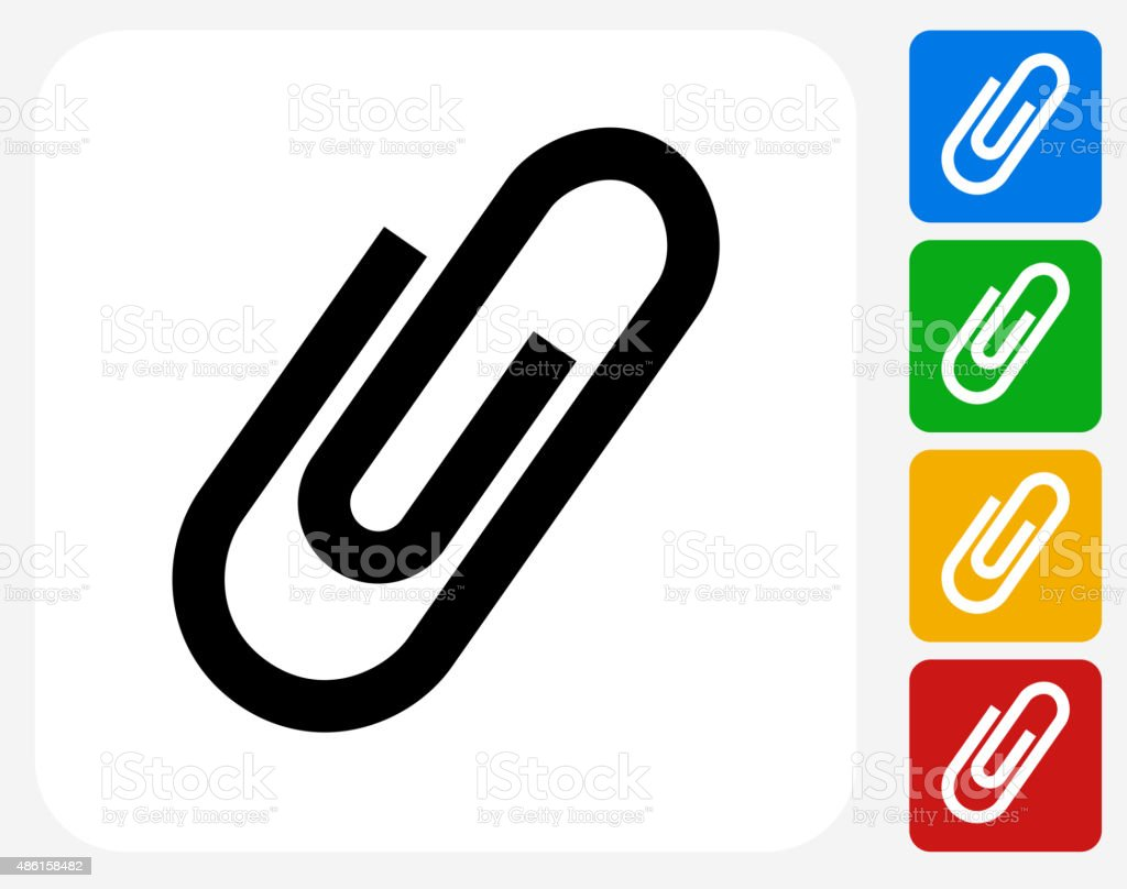 Paper Clip Icon Flat Graphic Design vector art illustration