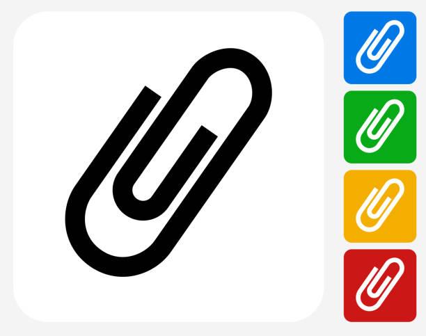 클립 아이콘크기 평편 그래픽 디자인 - 종이 클립 stock illustrations