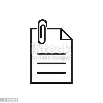 istock Paper clip icon vector for graphic design, logo, web site, social media, mobile app, ui illustration 1313618303