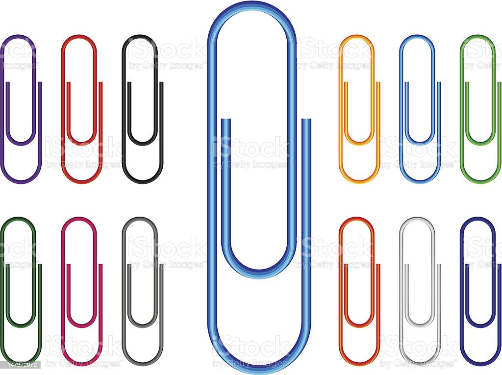 Paper Clip Multi Colored vector art illustration