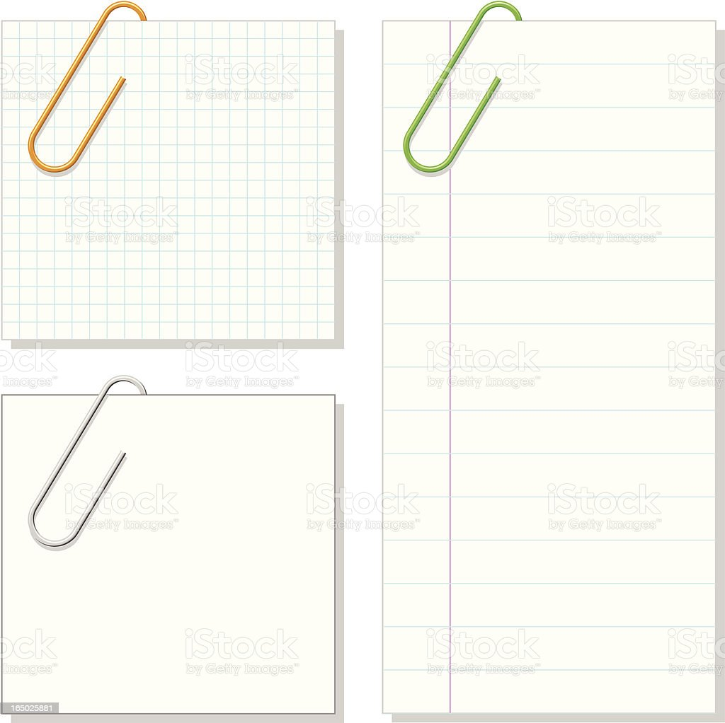 VECTOR - Paper Clip & Notepaper vector art illustration
