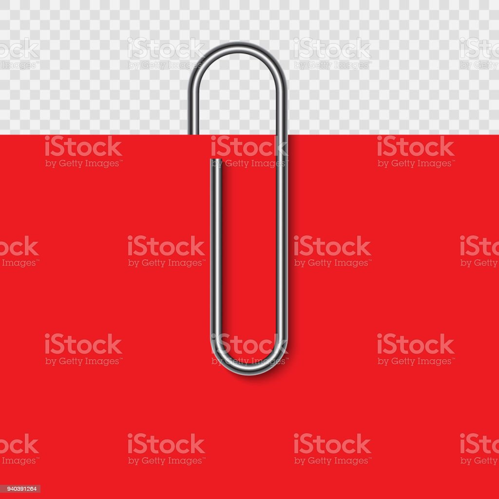 Paper clip on paper vector art illustration
