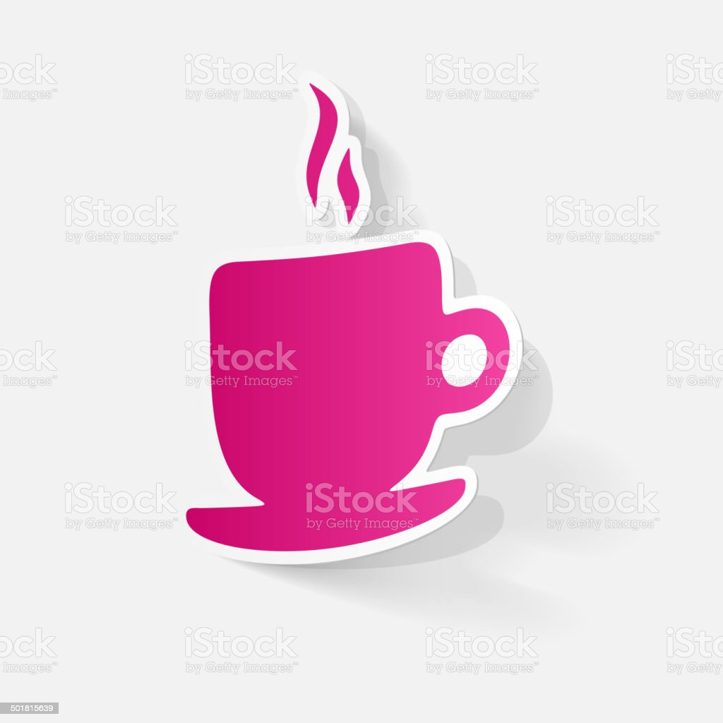 Paper clipped sticker: Coffee Cup Isolated royalty-free stock vector art
