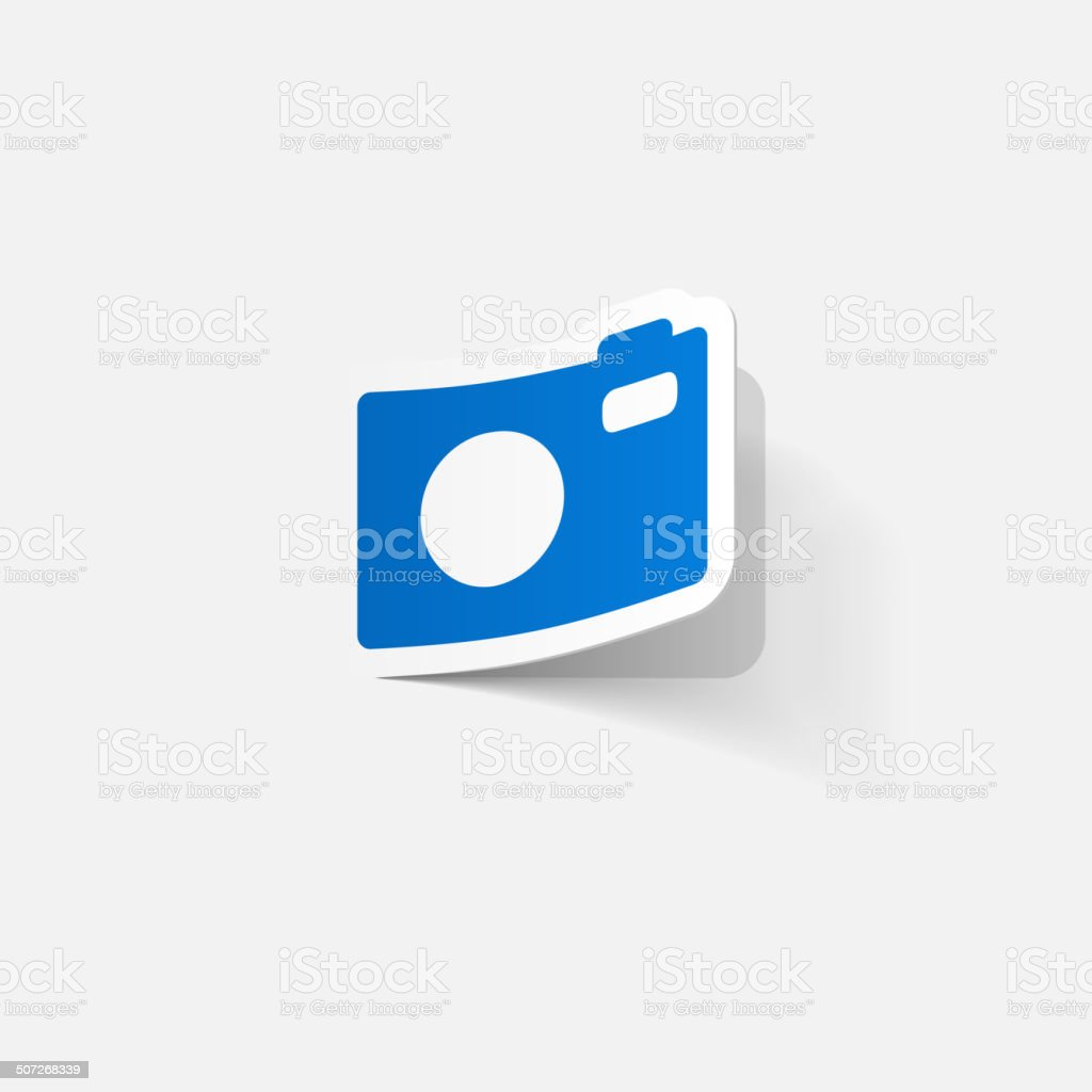 Paper clipped sticker: Digital compact photo camera royalty-free stock vector art