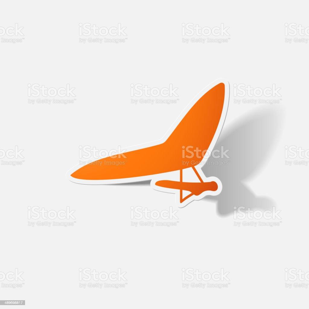 Paper clipped sticker: hang-glider vector art illustration