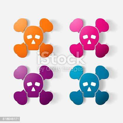 Paper clipped sticker: symbol poison skull and crossbones. Isolated illustration icon
