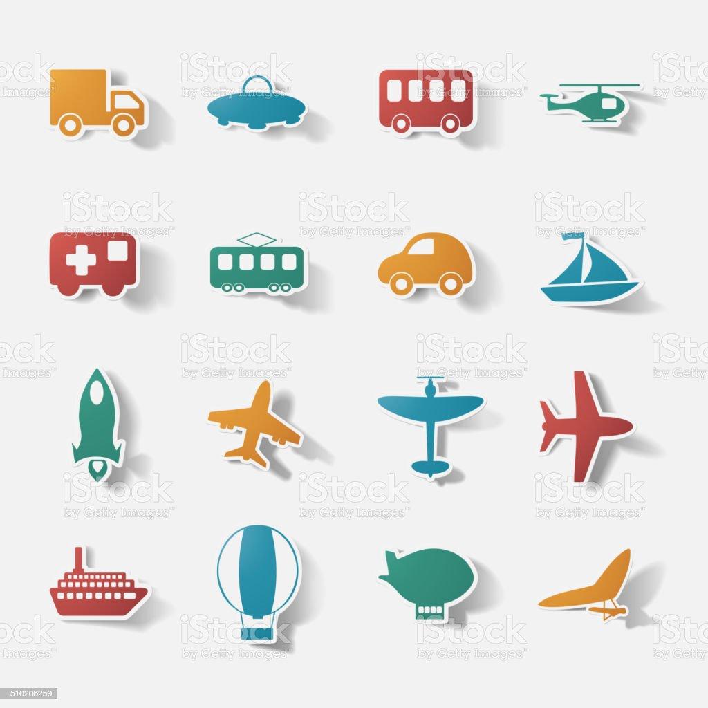 Paper clipped sticker: transport Set vector art illustration