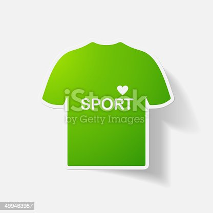 Paper clipped sticker: t-shirt for sports