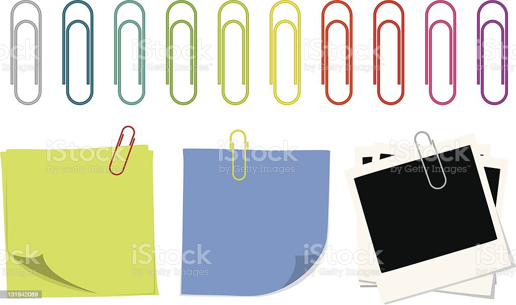 Paper Clips and Notes vector art illustration