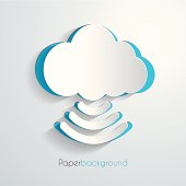 Paper cloud icon, design illustration