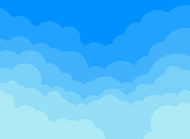 illustrations, cliparts, dessins animés et icônes de les nuages de papier et fond de ciel bleu. - sky